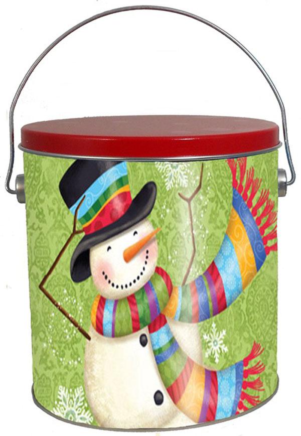 Scarf Snowman 1 gallon tin