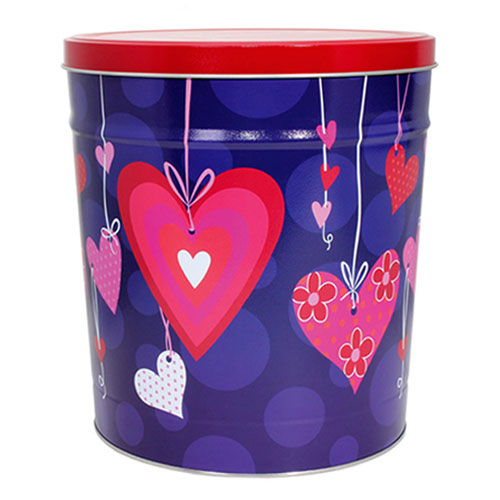 2 Gallon Valentine Popcorn Tin