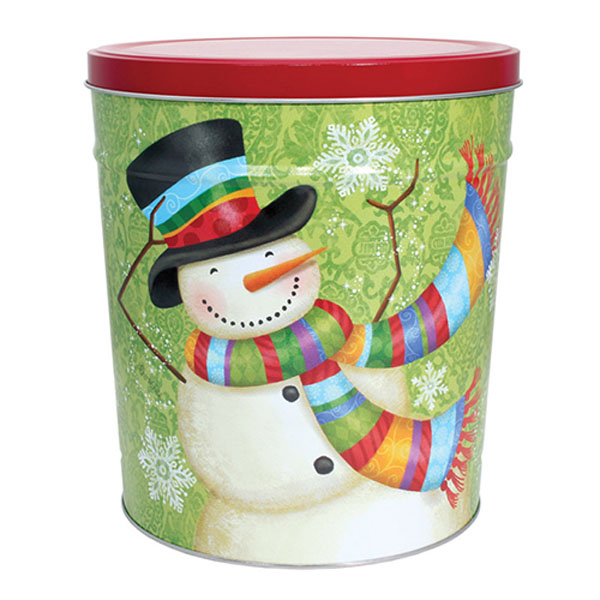 3 Gallon Scarf Snowman Tin
