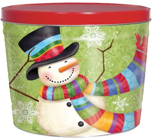 2 Gallon Scarf Snowman Tin